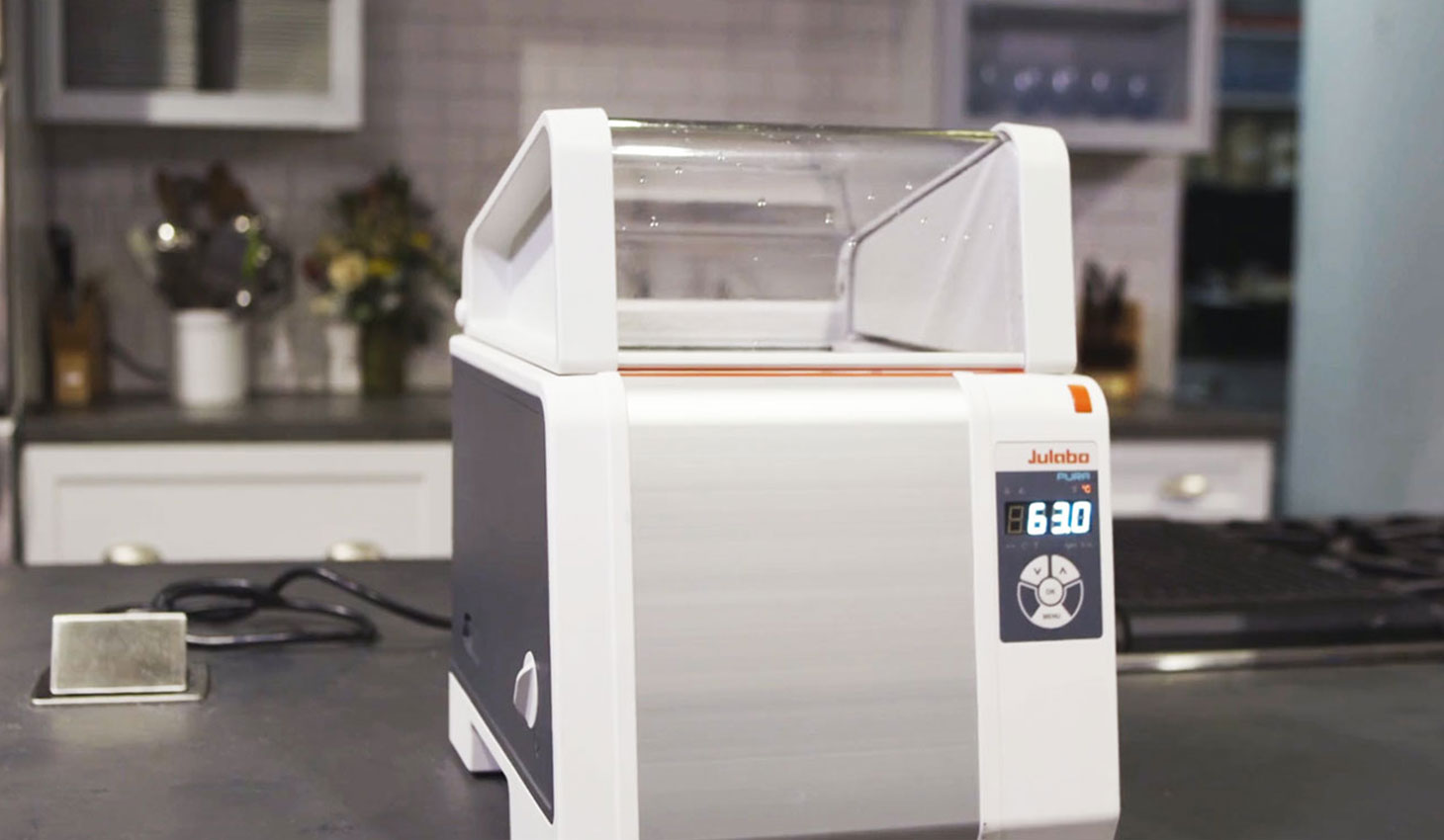 Julabo Pura on the counter of a test kitchen