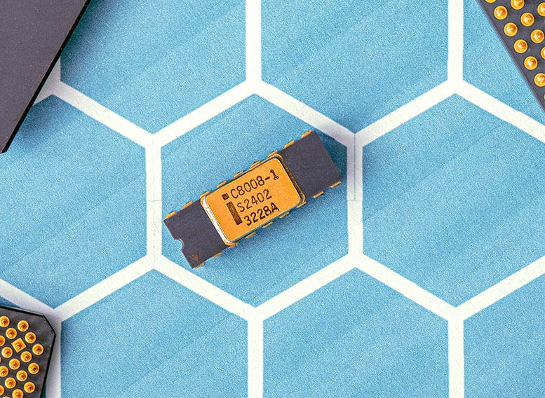 semiconductor chip on a hexagonal pattern background
