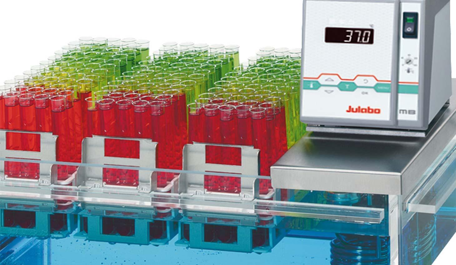 racks of test tubes filled with green and red liquid, raised above a Julabo polycarbonate bath with temperature controller