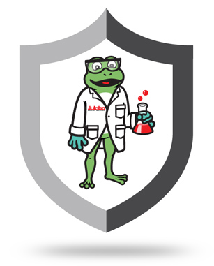shield emblem with Julabo mascot Luca the frog